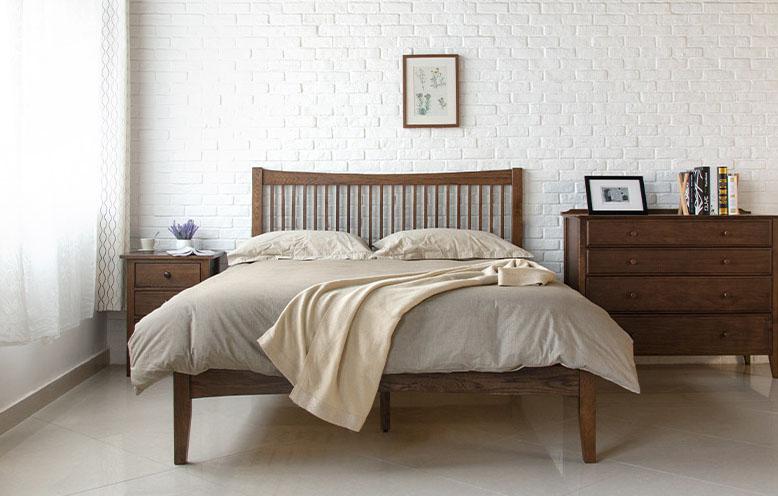 Wood Bed Frame Singapore Thames Walnut  4. Wood Furniture Singapore   Thames Wood Bed Frame  Solid Oak Wood